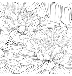 Black and white seamless background with flowers vector