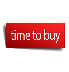 Time to buy red paper sign on white background vector