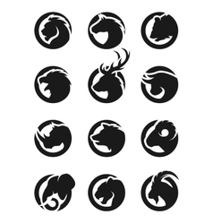 Set animal logos vector image