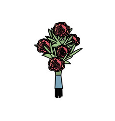 Beauty bouquet flowers with petals design vector