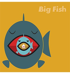 Big fish eating a small fish concept vector image