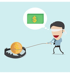 Businessman find money on the trap vector image