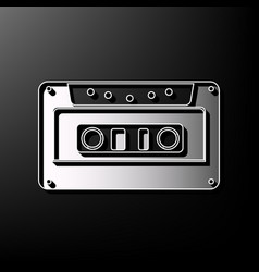 Cassette icon audio tape sign gray 3d vector