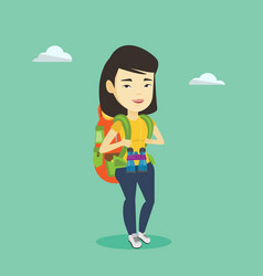cheerful traveler with backpack vector image