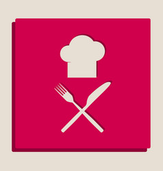 Chef with knife and fork sign grayscale vector