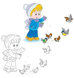 Child feeds birds vector