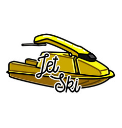 Color vintage jet ski emblem vector
