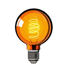 colored incandescent light bulb sketch vector image