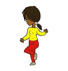 Comic cartoon girl dancing vector