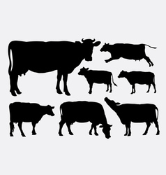 Cow animal silhouettes vector image vector image