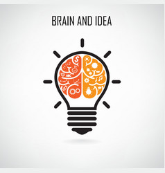 Creative light bulb and brain symbol vector image