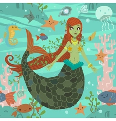 Cute awesome mermaid princess pattern vector image vector image