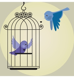 Cute bird in birdcage vector image
