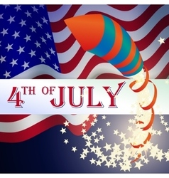Firecrackers Rockets on American Flag American vector image