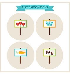Flat garden signs website icons set vector