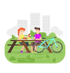 Flat style of young happy couple having picnic in vector