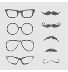 Glasses and mustache set Isolated Icons Scribble vector image
