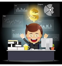Happy businessman working with data processing vector image
