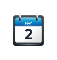 May 2 calendar icon flat vector