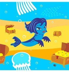 Mermaid and treasure vector