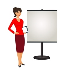 Pr specialist is standing next to the stand vector image