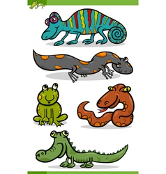 reptiles and amphibians cartoon set vector image vector image