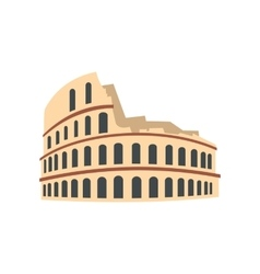 Roman colosseum icon flat style vector