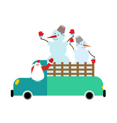 santa truck and snowmen christmas car new year vector image
