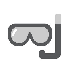 Scuba mask flat linear icon vector