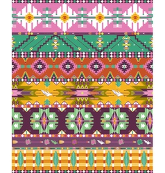 Seamless colorful aztec geometric pattern with bir vector image vector image