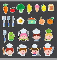 Set of chef kids and kitchen elements vector
