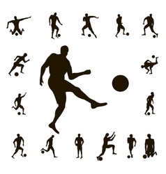 set soccer silhouette vector image vector image