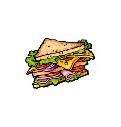 Sketch sandwich with vegetables cheese vector