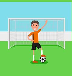 soccer goalkeeper keeping goal on arena athlete vector image vector image