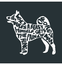 Typographic poster with dog silhouette vector
