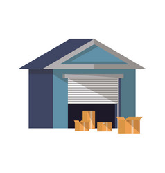 warehouse building icon in flat design vector image vector image