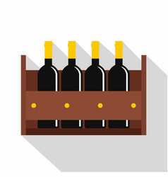Wine bottles in a wooden crate icon flat style vector