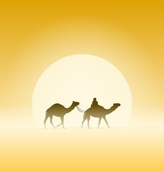 Two Camels and Sun vector image