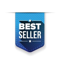 Best seller blue ribbon vector