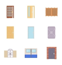Front door icons set cartoon style vector