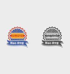 Hot dog vintage sign badge label or logo vector