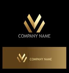gold letter m line business logo vector image