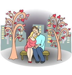 Loving couple of people on park bench vector