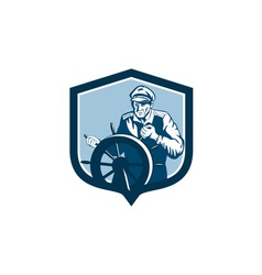 Fisherman sea captain shield retro vector