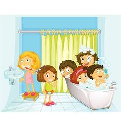 Children in bathroom vector image