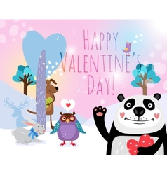 Animals with hearts on valentines day for vector