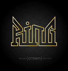Luxury golden king crown made of thin lines on vector