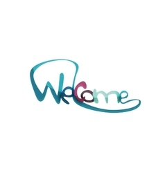 Welcome word drawn lettering typographic element vector