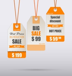 Orange vintage tag for sale template vector
