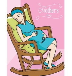 Happy pregnant woman relaxing on rocker chair vector
